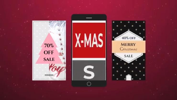 AE模板-圣诞节手机端微信祝福视频 Christmas Instagram Stories