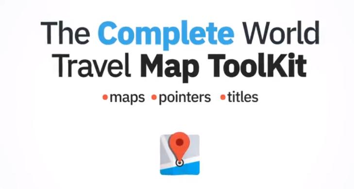 AE模板 世界地图国家旅游地点展示路径动画The Complete