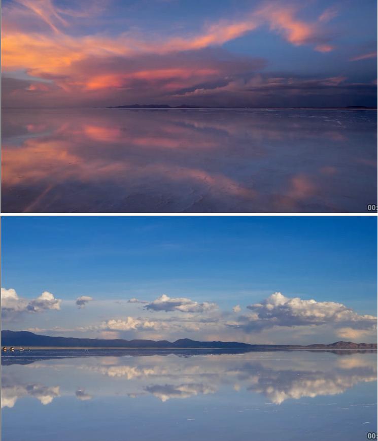 延时摄影 超美自然风光水天一色 海天空云雪山LED高清视频素材
