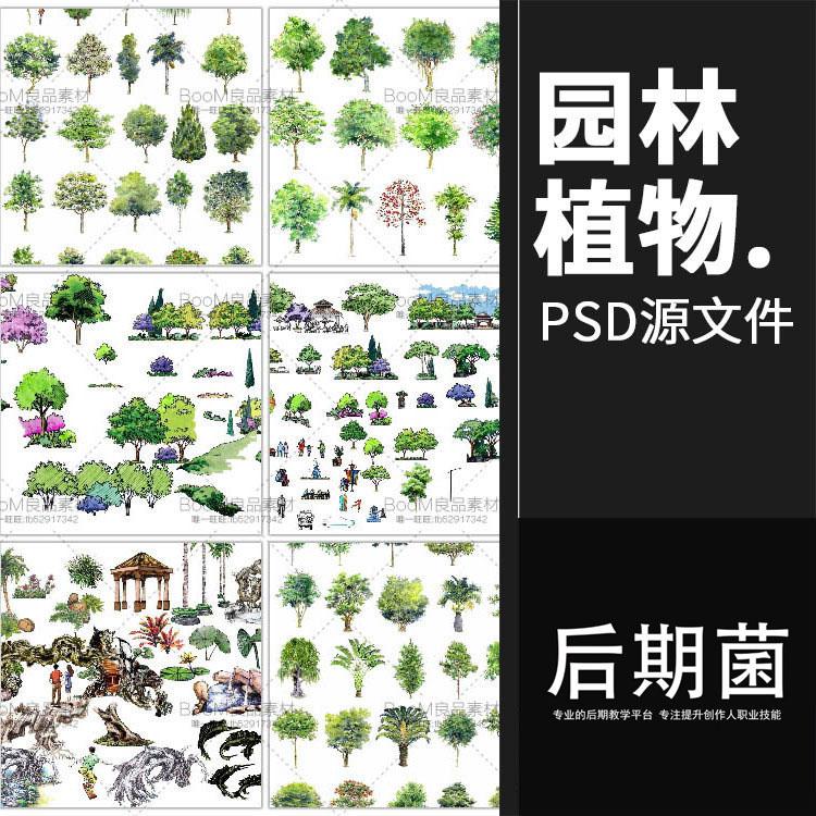 景观园林ps平面剖面素材psd分层文件手绘人物植物树亭子廊架