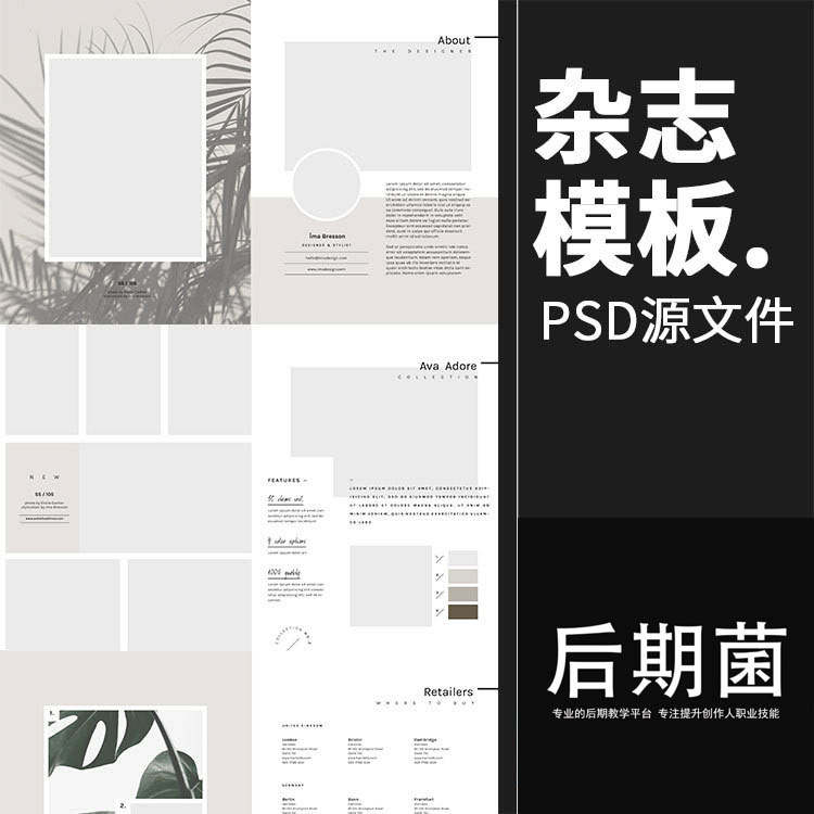 文艺范欧美简洁小清新风格杂志内页排版海报PSD模版设计素材