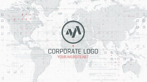 AE模板-地图背景企业logo标志展示Corporate Map Logo