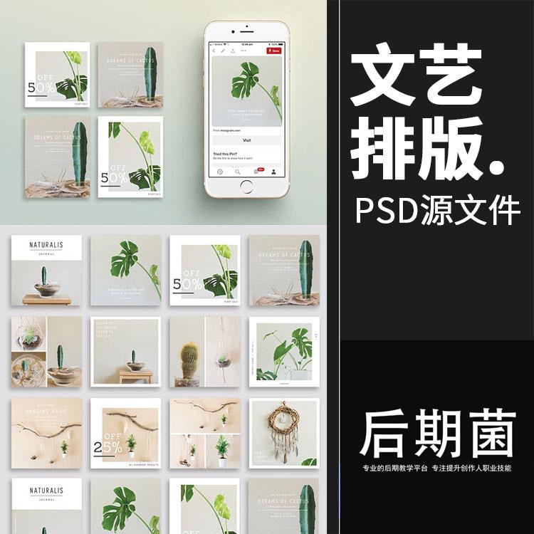 文艺小清新植物盆栽主题海报广告贴图图文排版PSD模板ps素材