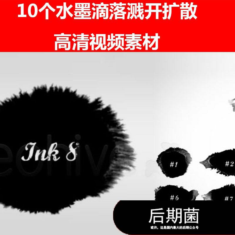 10个 MOV黑白水墨滴落溅开液体流体扩散高清视频素材源文件