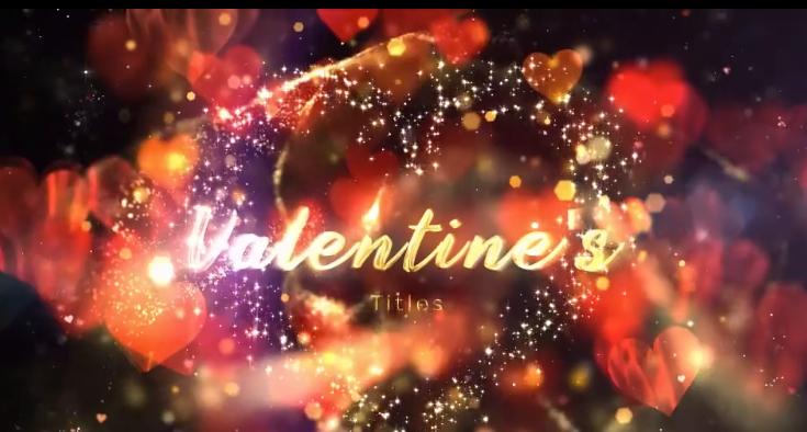 AE模板-高贵金色心形粒子红色心元素浪漫情人节婚礼宣传视频片头