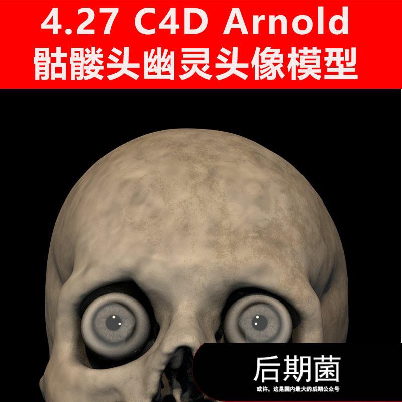 C4D Arnold骷髅头幽灵头像人物角色怪兽材质贴图模型三维素材