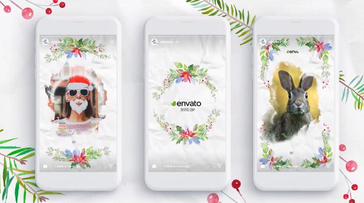 AE模板-清新水彩画风格手绘花饰生长动画花环包装元素手机视频贺卡