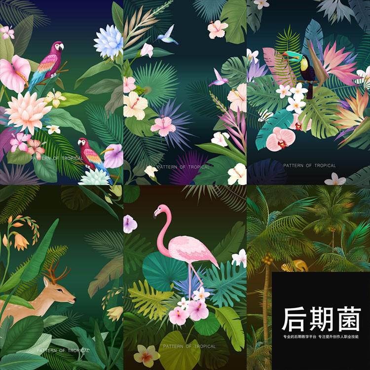 热带自然火烈鸟植物背景鹿丛林树林叶子PSD模板素材海报广告