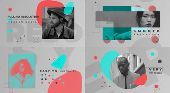 AE模版-时尚图形过渡图文介绍包装幻灯片展示