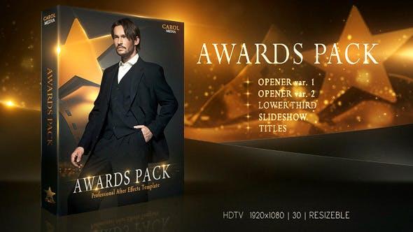 AE模板-金色闪耀奖杯颁奖典礼开场片头栏目包装