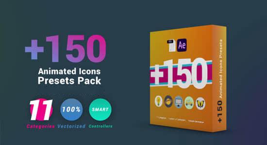 AE模板-150个生活交通数码媒体动物科技教育购物矢量图标动画包