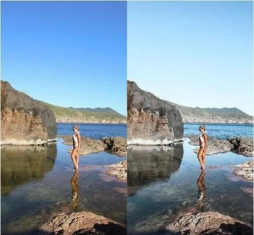 摄影师Micheli Fernandes蓝色海滩旅拍预设  精选7款高级效果