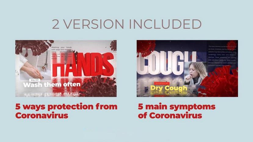 Premiere模板-冠状病毒症状介绍和防护方法宣传视频模板