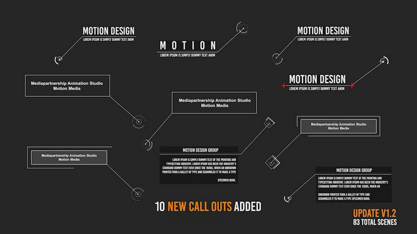 Premiere模板-10组不同83个独立场景线条呼出动画模板