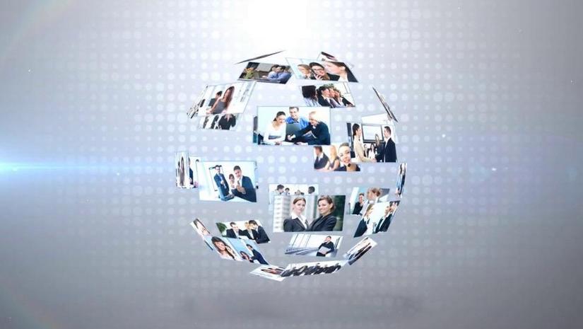 Premiere模板-3D照片球企业片头LOGO展示动画模板