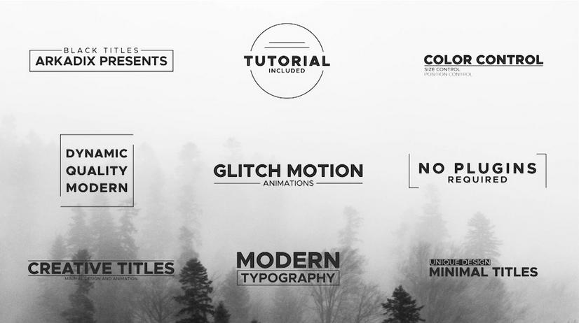 Premiere模板-简约大气黑色标题文字动画模板