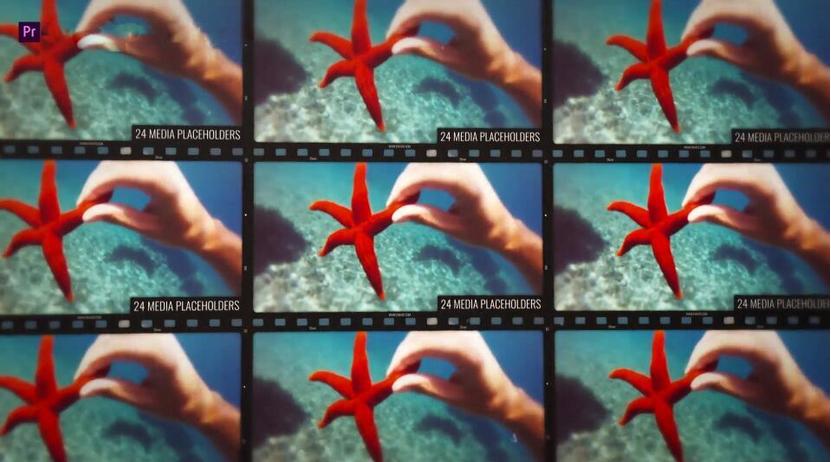 Premiere模板-真正的电影胶卷特效多格画面展示模板