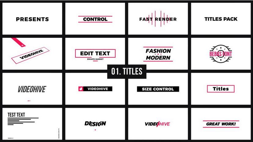 Premiere模板-基本图形Mogrt动态图形软件创意图形包