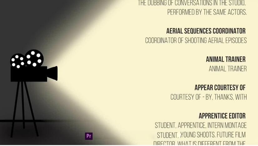Premiere模板-电影电视剧视频片尾演员表字幕动画模板