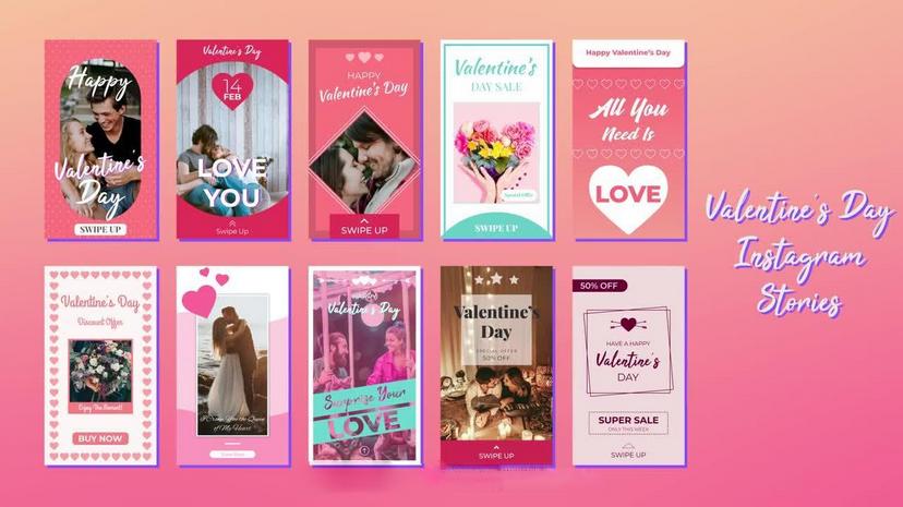 Premiere模板-2.14浪漫情人节表白手机竖版小视频模板