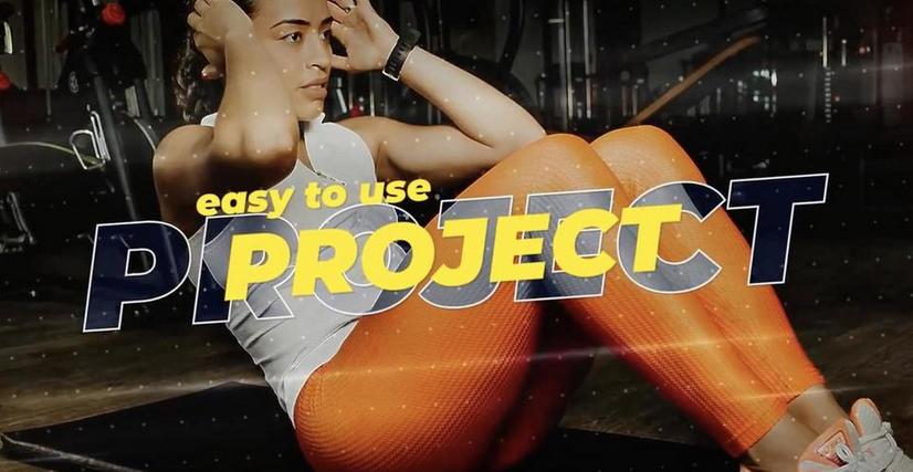 Premiere模板-双层文字特效快节奏体育比赛滑雪运动健身视频宣传模板