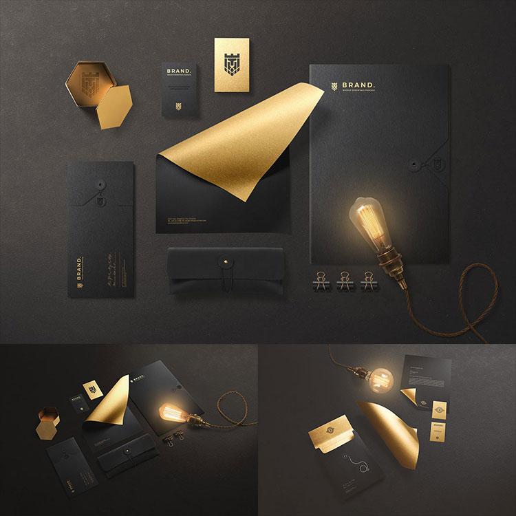 高端黑金品牌形象商务办公产品VI场景名片PSD模板样机贴图PS素材