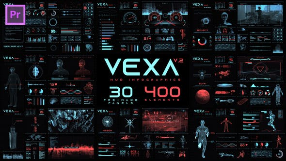 Premiere模板-380个未来数字科技HUD图形元素动画包