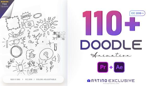Premiere模板-110个可爱卡通手绘涂鸦图形动画预设