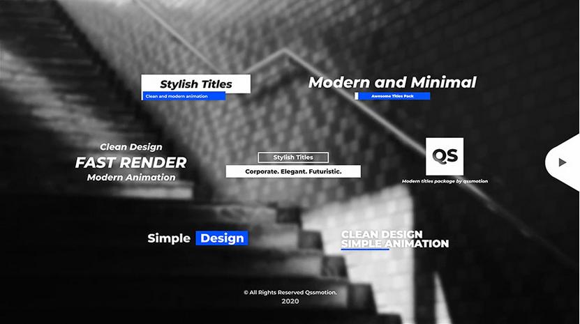 Premiere模板-简约标题字幕文字动画模板